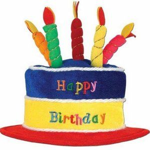 Birthday Cake Plush Hat With Candles